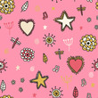 Cute seamless pattern with flowers hearts and star