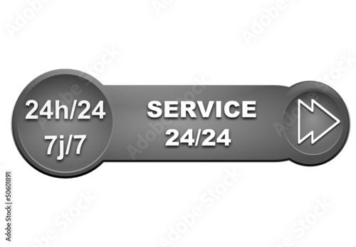 service 24 sur 24 7 sur 7 sur bouton gris