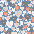 Beautiful hearts with words seamless pattern