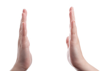 Hands showing distance