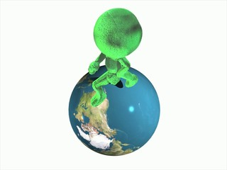3D Green People - Running Around the World