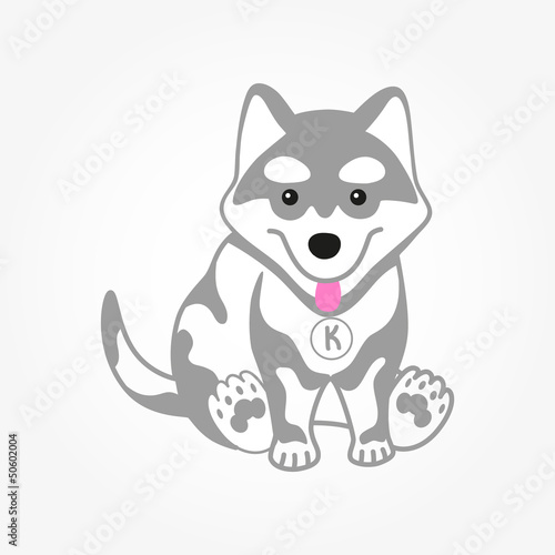 Cute husky puppy vector illustration.