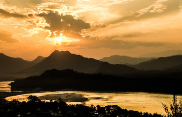 Mekong River at Sunset - Luang Prabang, Laos