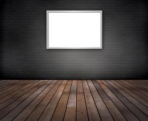 Graue Ziegelwand, Holzfussboden,  Bilderrahmen
