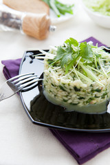 risotto with spinach and chopped greens