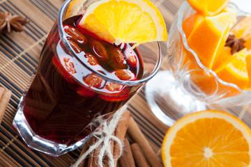 warm wine with almonds and orange