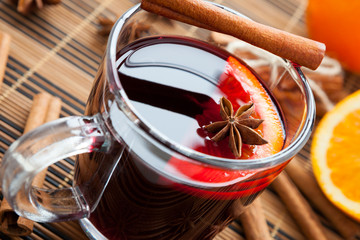 warming drink in a large cup of mulled wine