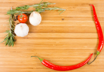 Hot chilli peppers, garlic and rosemary