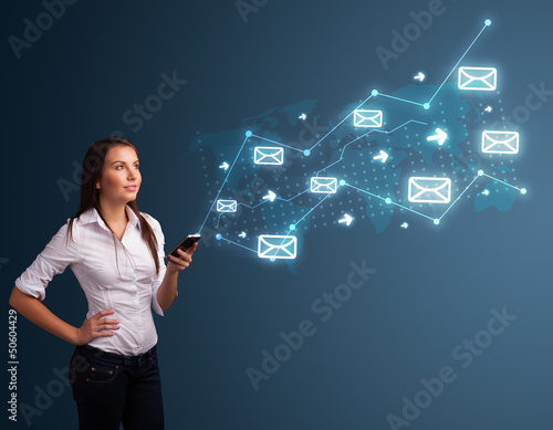 Young lady holding a phone with arrows and message icons