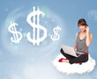 Young woman sitting on cloud next to cloud dollar signs