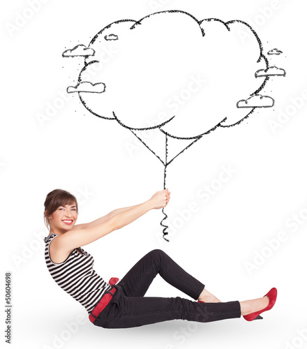 Young lady holding cloud balloon drawing