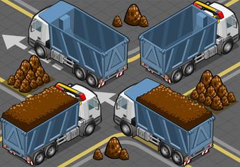 isometric containers trucks
