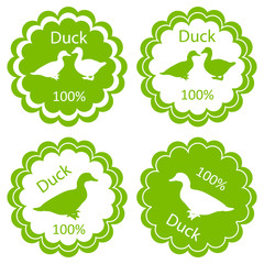 Organic farm and forest goose and duck meat food labels illustra