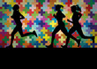 Marathon runners active silhouettes in colorful landscape backgr