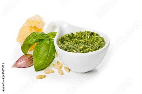 canvas print picture Pesto Genovese e ingredienti