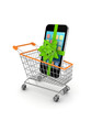 Mobile phone in a shopping trolley.