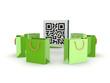 Green plastic packets around QR code.