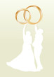 Wedding card with man and women and gold wedding rings in vector