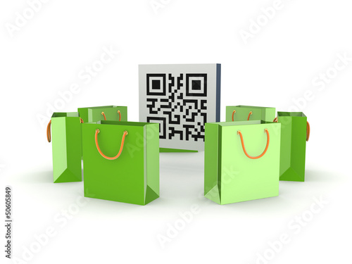 Green plastic packets around QR code.