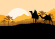 Camel caravan in wild desert mountain nature landscape backgroun