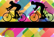 Sport road bike riders bicycle silhouettes in colorful abstract