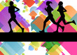Marathon sport runners in colorful abstract background vector