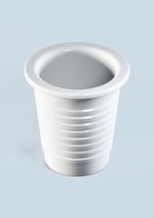 white plastic cup - 3d illustration isolated on blue
