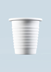 3d plastic cup isolated on blue