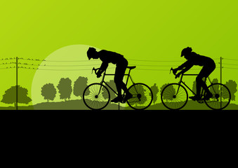 Sport road bike riders and bicycles detailed silhouettes in coun