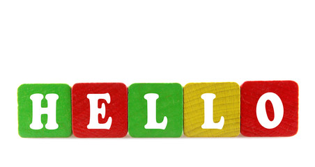 hello - isolated text in wooden building blocks
