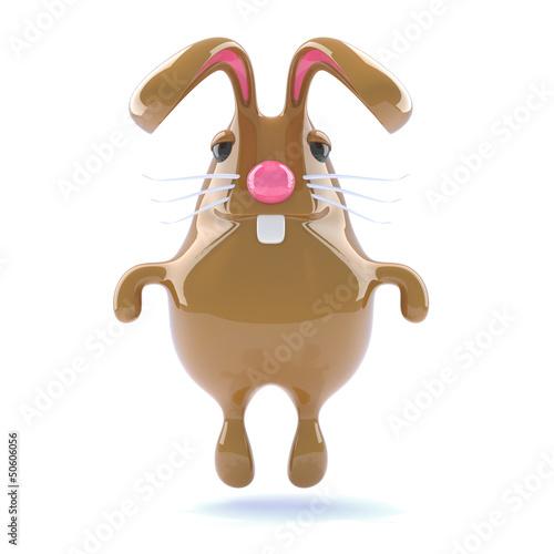 Chocolate bunny hops playfully