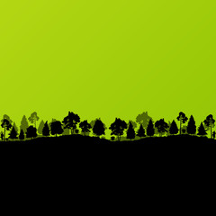 Forest trees silhouettes landscape ecology illustration backgrou