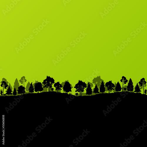 Forest trees silhouettes landscape ecology illustration backgrou