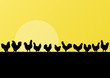 Farm chickens and roosters silhouettes in countryside landscape
