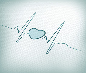 Teal ECG line with heart graphic