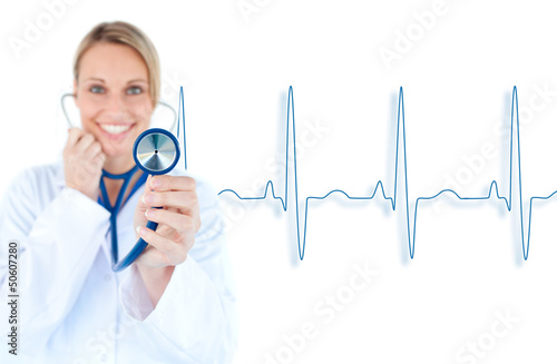 Blonde doctor holding up stethoscope