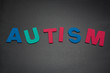 Autism spelled out in colourful letters