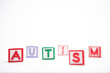 Autism spelled out in letter blocks