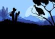 Desert wild nature landscape with cactus, palm tree plants