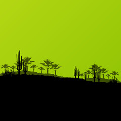 Desert wild nature ecology landscapes with cactus and palm tree