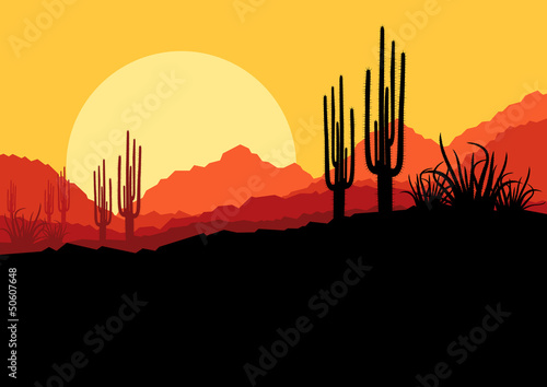 Desert wild nature landscape with cactus and palm tree plants