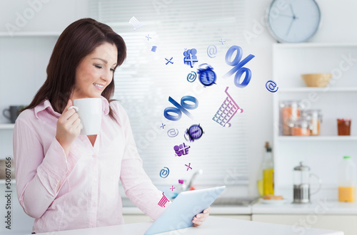Woman using applications from tablet