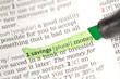 Savings money definition highlighted in green