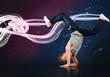 Male dancer balancing on his forearms