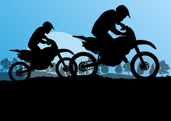 Motorbike riders motorcycle silhouettes in wild forest mountain