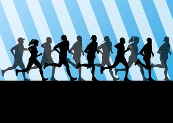 Man and women marathon runners silhouettes in sport stadium land