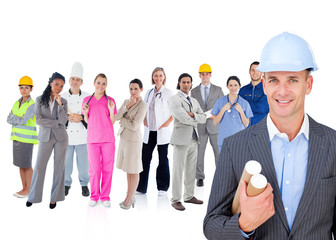 Architect standing in front of different types of workers