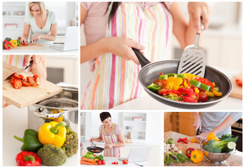 Collage of women cooking