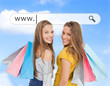 Smiling girls with their shopping bags under address bar