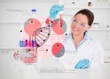 Smiling scientist examining test tube